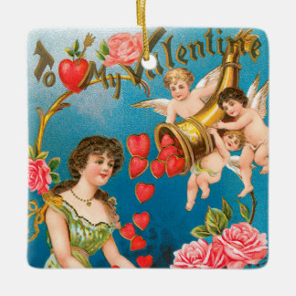 Vintage Victorian Valentine's Day Angels with Girl Ceramic Ornament