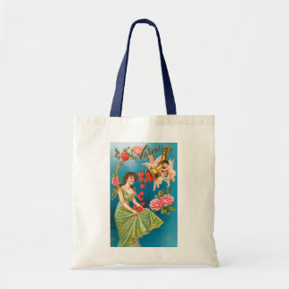 Vintage Victorian Valentine's Day Angels with Girl Tote Bag