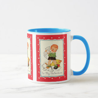 Vintage Victorian Valentines Day Boy, Cat and Dogs Mug