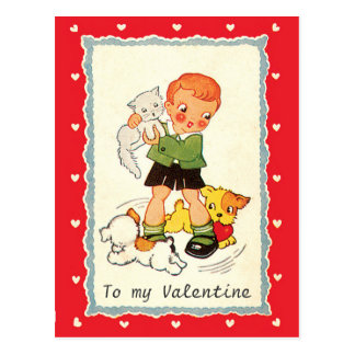 Vintage Victorian Valentines Day Boy, Cat and Dogs Postcard