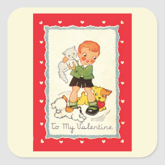Vintage Victorian Valentines Day Boy, Cat and Dogs Square Sticker