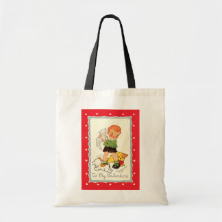 Vintage Victorian Valentines Day Boy, Cat and Dogs Tote Bag