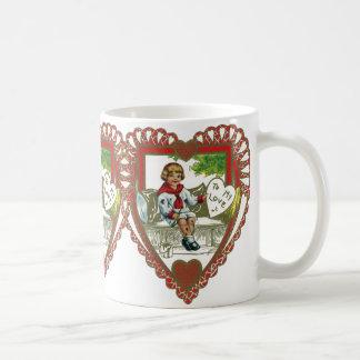 Vintage Victorian Valentine's Day, Boy in Heart Coffee Mug