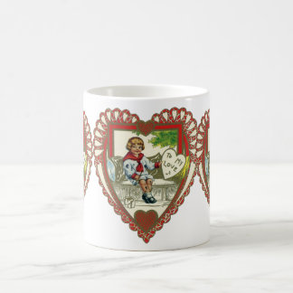 Vintage Victorian Valentine's Day, Boy in Heart Coffee Mug