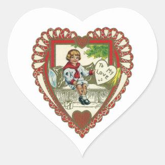 Vintage Victorian Valentine's Day, Boy in Heart Heart Sticker