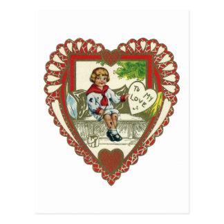 Vintage Victorian Valentine's Day, Boy in Heart Postcard