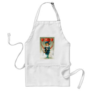 Vintage Victorian Valentines Day, Boy with Hearts Adult Apron