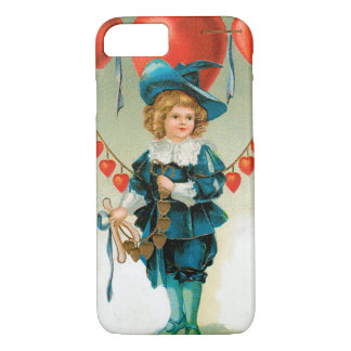 Vintage Victorian Valentines Day, Boy with Hearts iPhone 7 Case