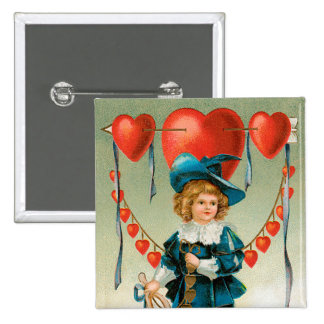 Vintage Victorian Valentines Day, Boy with Hearts Pinback Button