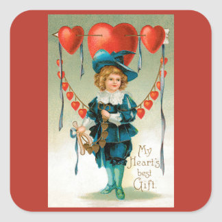 Vintage Victorian Valentines Day, Boy with Hearts Square Sticker