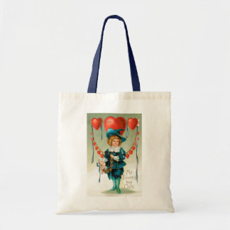 Vintage Victorian Valentines Day, Boy with Hearts Tote Bag
