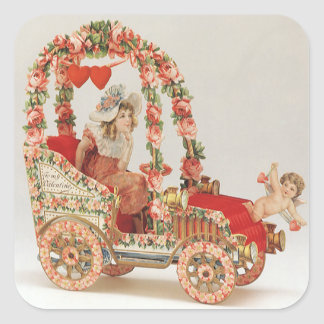 Vintage Victorian Valentines Day, Car with Flowers Square Sticker