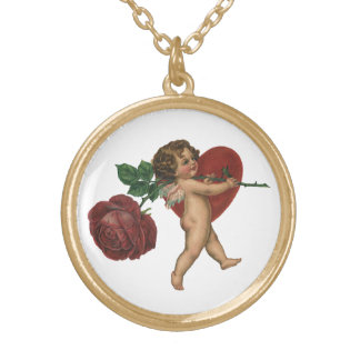 Vintage Victorian Valentine's Day Cherub and Rose Gold Plated Necklace