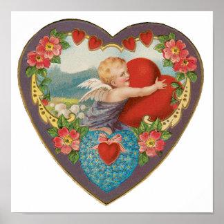Vintage Victorian Valentine's Day Cherub Hearts Poster