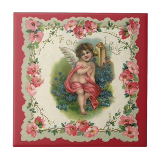 Vintage Victorian Valentine's Day, Cherub on Phone Ceramic Tile