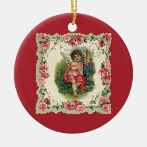 Vintage Victorian Valentine's Day, Cherub on Phone Double-Sided Ceramic Round Christmas Ornament