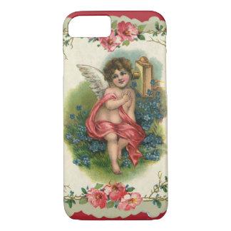 Vintage Victorian Valentine's Day, Cherub on Phone iPhone 7 Case