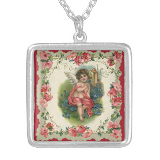 Vintage Victorian Valentine's Day, Cherub on Phone Silver Plated Necklace