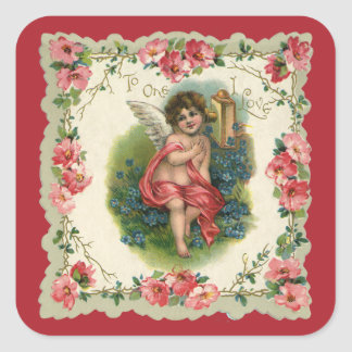 Vintage Victorian Valentine's Day, Cherub on Phone Square Sticker