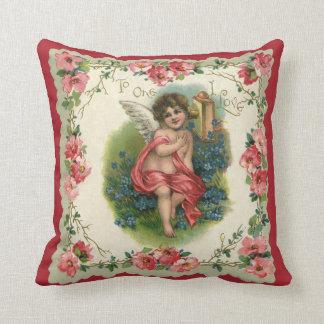 Vintage Victorian Valentine's Day, Cherub on Phone Throw Pillow