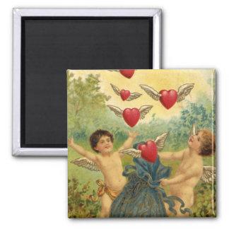 Vintage Victorian Valentine's Day, Cherubs Hearts 2 Inch Square Magnet