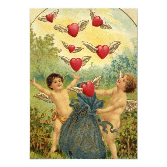 Vintage Victorian Valentine's Day, Cherubs Hearts Card