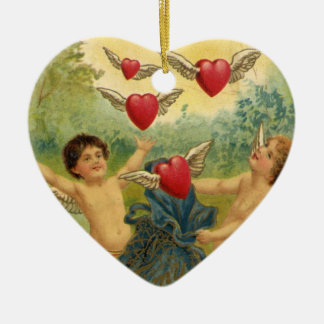 Vintage Victorian Valentine's Day, Cherubs Hearts Ceramic Ornament
