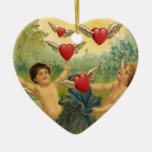 Vintage Victorian Valentine's Day, Cherubs Hearts Double-Sided Heart Ceramic Christmas Ornament