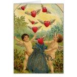 Vintage Victorian Valentine's Day, Cherubs Hearts Greeting Card