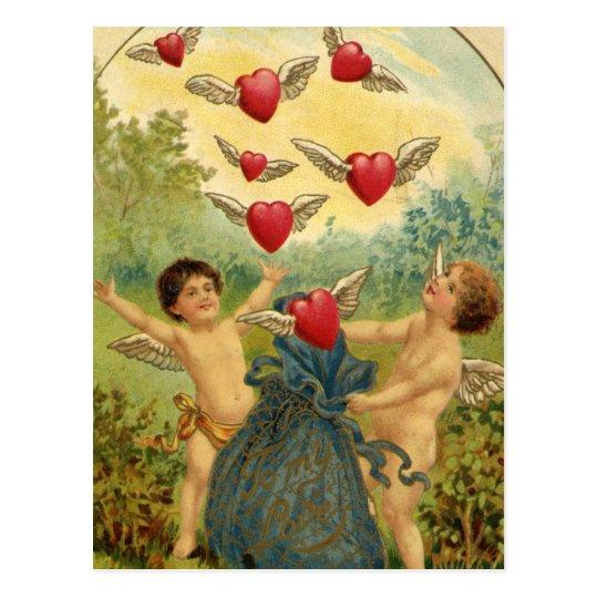 Vintage Victorian Valentine's Day, Cherubs Hearts Postcard