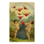 Vintage Victorian Valentine's Day, Cherubs Hearts Poster