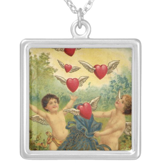 Vintage Victorian Valentine's Day, Cherubs Hearts Silver Plated Necklace