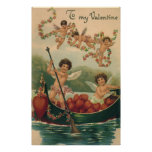 Vintage Victorian Valentine's Day, Cherubs in Boat Poster