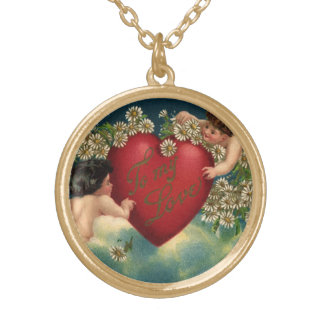 Vintage Victorian Valentines Day Cherubs in Heaven Gold Plated Necklace
