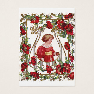 Vintage Victorian Valentine's Day Child with Roses Business Card