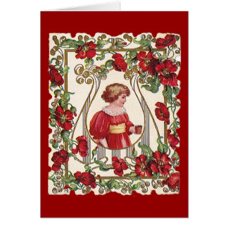 Vintage Victorian Valentine's Day Child with Roses Card