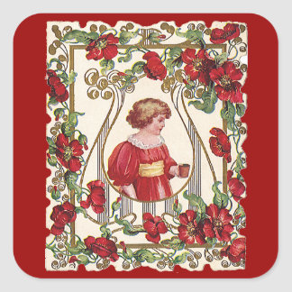 Vintage Victorian Valentine's Day Child with Roses Square Sticker