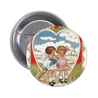 Vintage Victorian Valentines Day Children in Heart Button
