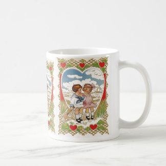 Vintage Victorian Valentines Day Children in Heart Coffee Mug