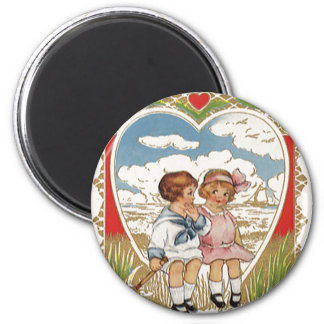 Vintage Victorian Valentines Day Children in Heart Magnet