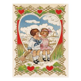 Vintage Victorian Valentines Day Children in Heart Postcard