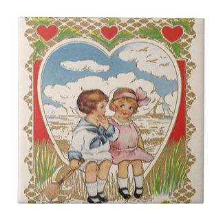 Vintage Victorian Valentines Day Children in Heart Tile