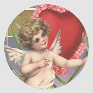 Vintage Victorian Valentine's Day Cupid with Heart Classic Round Sticker