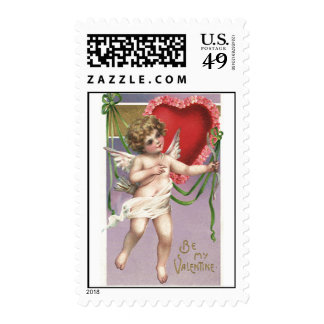 Vintage Victorian Valentine's Day Cupid with Heart Postage Stamp