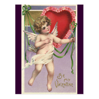 Vintage Victorian Valentine's Day Cupid with Heart Postcard