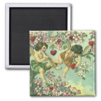 Vintage Victorian Valentines Day Cupids Heart Tree 2 Inch Square Magnet