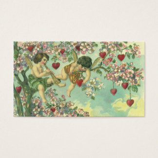 Vintage Victorian Valentines Day Cupids Heart Tree Business Card