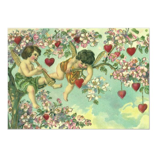 Vintage Victorian Valentines Day Cupids Heart Tree Card
