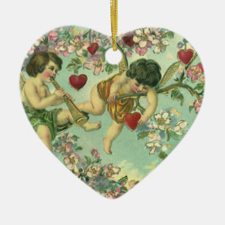 Vintage Victorian Valentines Day Cupids Heart Tree Ceramic Ornament