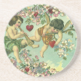 Vintage Victorian Valentines Day Cupids Heart Tree Coaster
